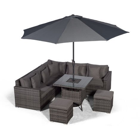Giardino Havana 7 Seat Grey Rattan Corner Sofa Dining Set w/ 90x90cm Drinks Cooler Rattan Dining Table, 2 Stools, Parasol & Outdoor Furniture Covers | Poly Rattan Garden Furniture