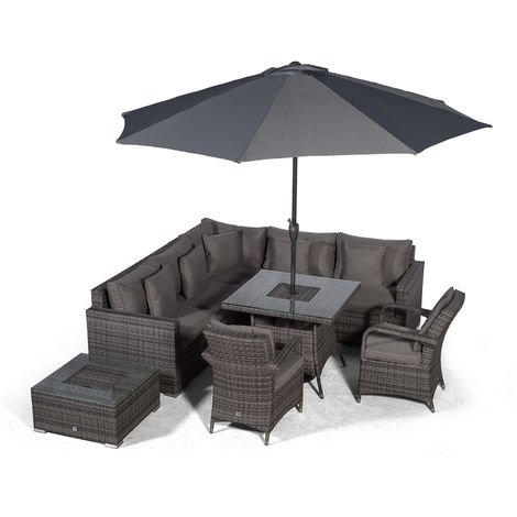 Giardino Havana 7 Seat Grey Rattan Corner Sofa Dining Set w/Drinks Coolers | w/ 90x90cm Rattan Dining Table, 2 Rattan Chairs, Ice Bucket Coffee Table, Parasol & Outdoor Rattan Furniture Cover