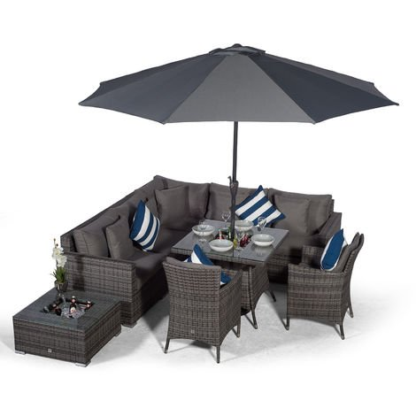 Giardino Havana 7 Seat Grey Rattan Corner Sofa Dining Set w/Drinks Coolers | w/ 90x90cm Rattan Dining Table, 2 Rattan Dining Chairs, Ice Bucket Coffee Table, Parasol & Outdoor Rattan Furniture Cover