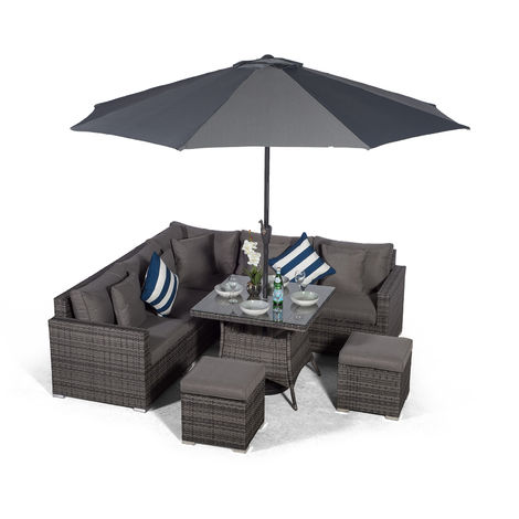 Giardino Havana 7 Seat Grey Rattan Corner Sofa Dining Set with 90 x 90cm Rattan Dining Table, 2 Stools, Parasol & Outdoor Furniture Covers | Poly Rattan Garden Dining Set | Garden Rattan Furniture