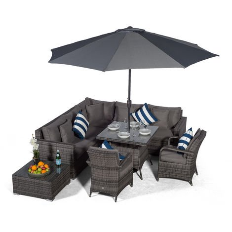 Giardino Havana 7 Seat Grey Rattan Corner Sofa Dining Set with 90x90cm Rattan Dining Table, 2 Rattan Chairs, Coffee Table, Parasol & Outdoor Furniture Covers | Poly Rattan Garden Furniture
