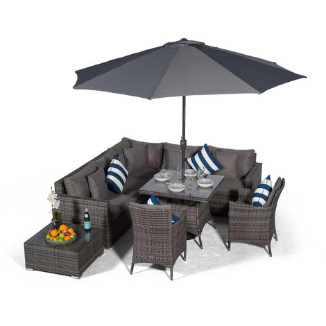 Giardino Havana 7 Seat Grey Rattan Corner Sofa Dining Set with 90x90cm Rattan Dining Table, 2 Rattan Dining Chairs, Coffee Table, Parasol & Outdoor Furniture Covers | Rattan Garden Dining Furniture