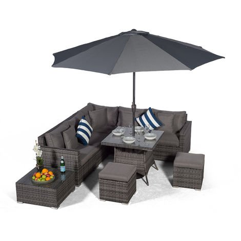 Giardino Havana 7 Seat Grey Rattan Corner Sofa Dining Set with 90x90cm Rattan Dining Table, 2 Stools, Coffee Table, Parasol & Outdoor Furniture Covers | Poly Rattan Dining Garden Furniture