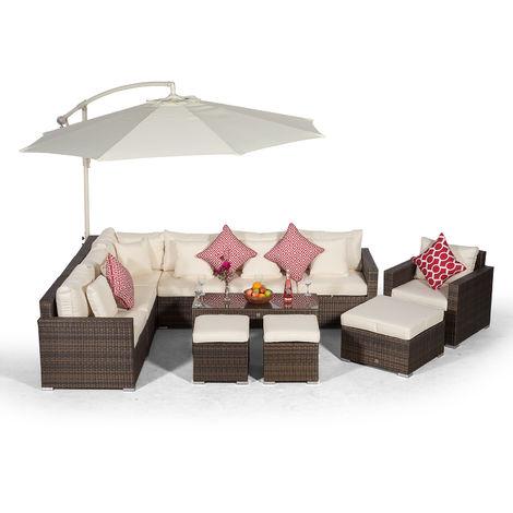 Giardino Havana 7 Seater Brown Rattan Corner Sofa Set + Armchair + 2 Stool Coffee Table, Ottoman + Parasol + Outdoor Furniture Cover | L Shaped Outdoor Corner Sofa | Patio Poly Rattan Garden Sofa Set