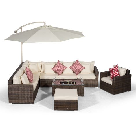 Giardino Havana 7 Seater Brown Rattan Corner Sofa Set with Armchair, Ottoman + Ice Cooler Coffee Table, Parasol & Outdoor Furniture Covers | L Shaped Poly Rattan Garden Sofa Set | Outdoor Corner Sofa