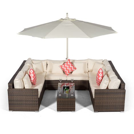 Giardino Havana 8 Seater Brown Rattan Sofa Set + Large Ice Cooler Coffee Table + 3m Parasol + Outdoor Rattan Furniture Cover | 10 Piece Modular Poly Rattan Garden Sofa Set | Outdoor Conversation Set