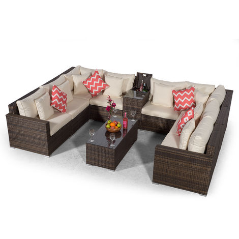 Giardino Havana 8 Seater Brown U Shaped Rattan Sofa Conversation Set + Ice Drinks Cooler Console + 3m Parasol + Outdoor Furniture Cover | Large Poly Rattan Garden Sofa Set | Patio Outdoor Corner Sofa