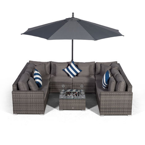 Giardino Havana 8 Seater Grey Large Rattan Sofa Set + Ice Cooler Coffee Table + 3m Parasol + Outdoor Rattan Furniture Cover | 10 Piece Modular Poly Rattan Garden Sofa Set | Outdoor Conversation Set