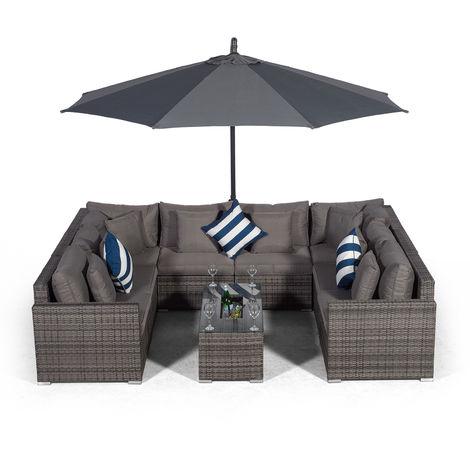 Giardino Havana 8 Seater Grey Rattan Sofa Set + Large Ice Cooler Coffee Table + 3m Parasol + Outdoor Rattan Furniture Cover | 10 Piece Modular Poly Rattan Garden Sofa Set | Outdoor Conversation Set