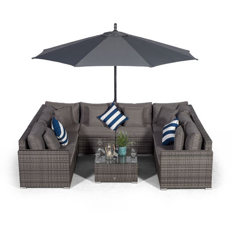 Giardino Havana 8 Seater Grey U Shaped Large Rattan Sofa Set | 10 piece Modular Poly Rattan Garden Sofa Set + 3m Parasol + Outdoor Rattan Furniture Cover | Outdoor Conversation Sofa Set + Sun Lounger
