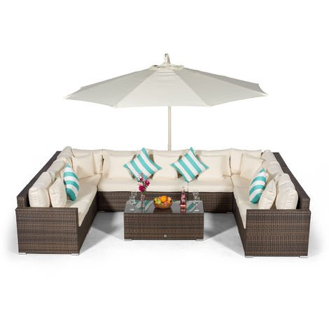 Giardino Havana 9 Seater Brown Rattan Sofa Set + Large Coffee Table, 3m Parasol + Outdoor Rattan Furniture Cover | U Shaped Modular Poly Rattan Garden Sofa Set | Outdoor Conversation Set + Sun Lounger