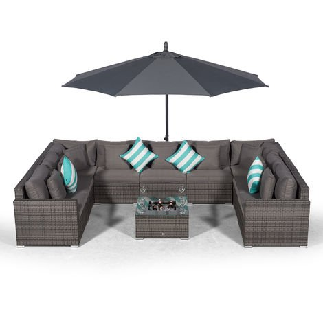 Giardino Havana 9 Seater Grey Large Rattan Sofa Set + Ice Cooler Coffee Table + 3m Parasol + Outdoor Rattan Furniture Cover | 11 Piece Modular Poly Rattan Garden Sofa Set | Outdoor Conversation Set
