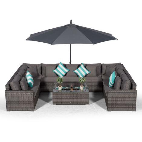 Giardino Havana 9 Seater Grey Rattan Sofa Set + Large Ice Cooler Coffee Table + 3m Parasol + Outdoor Rattan Furniture Cover | 11 Piece Modular Poly Rattan Garden Sofa Set | Outdoor Conversation Set