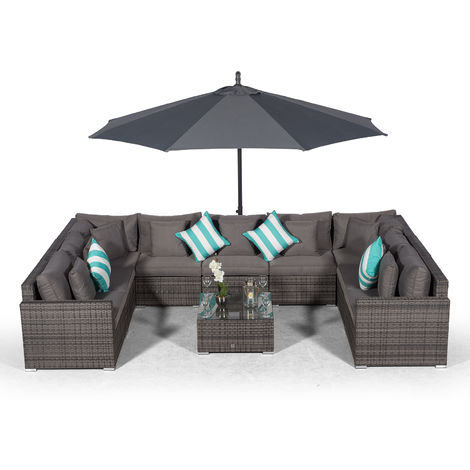 Giardino Havana 9 Seater Grey U Shaped Large Rattan Sofa Set | 11 piece Modular Poly Rattan Garden Sofa Set + 3m Parasol + Outdoor Rattan Furniture Cover | Outdoor Conversation Sofa Set + Sun Lounger