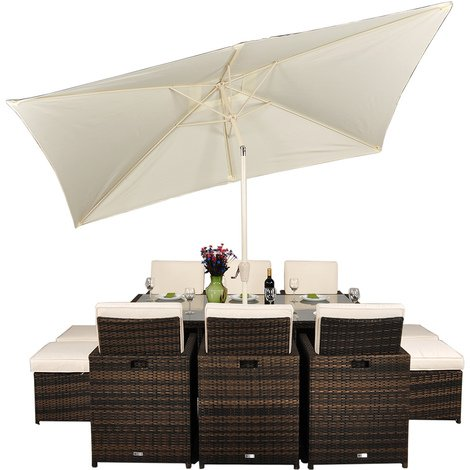Set Giardino In Rattan.Giardino Rattan Garden Furniture 6 Seat Cube Dining Set Plus