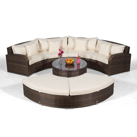 Giardino Riviera 4 Seat Brown Poly Rattan effect Garden Furniture Set with Coffee Table & 2 Stools + Outdoor Furniture Covers | 7 piece Curved Rattan Sofa Set | Rattan Patio Conservatory Furniture