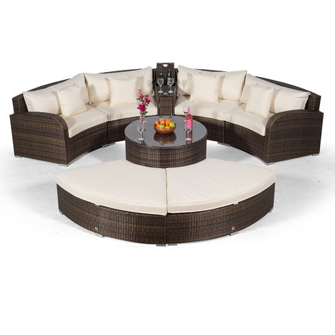 Giardino Riviera 4 Seat Brown Poly Rattan Garden Furniture Set + Coffee Table, Armrest Cooler, 2 Stools & Outdoor Furniture Covers | 8 pcs Round Rattan Sofa Set | Rattan Patio Conservatory Furniture