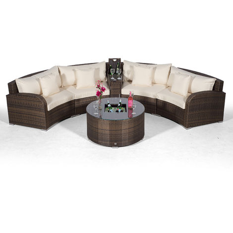 Giardino Riviera 4 Seat Brown Poly Rattan Garden Furniture Set + Coffee Table Cooler, 1 Armrest Consoles & Outdoor Furniture Covers | 6pc Curved Rattan Sofa Set | Rattan Patio Conservatory Furniture