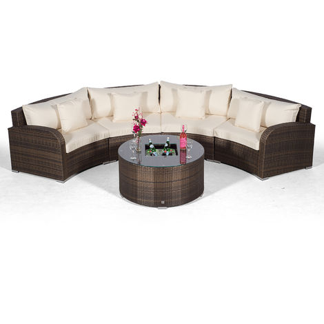 Giardino Riviera 4 Seat Brown Poly Rattan Garden Furniture Set with Drinks Ice Bucket Coffee Table & Outdoor Furniture Covers | 5 piece Curved Rattan Sofa Set | Rattan Patio Conservatory Furniture