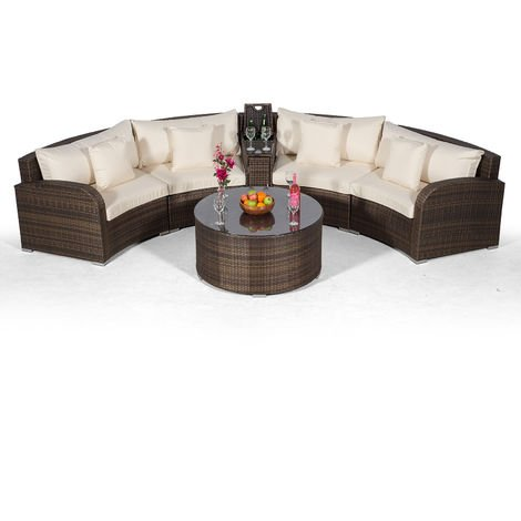 Giardino Riviera 4 Seat Brown Rattan effect Garden Furniture Set with Coffee Table & Armrest Ice Cooler + Outdoor Furniture Covers | 6 pcs Curved Rattan Sofa Set | Rattan Patio Conservatory Furniture