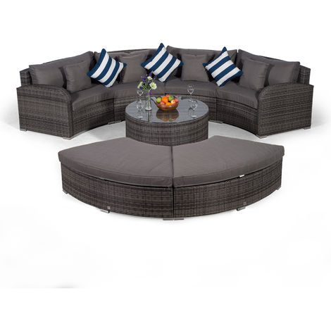 Giardino Riviera 4 Seat Grey Poly Rattan effect Garden Furniture Set with Coffee Table & 2 Stools + Outdoor Furniture Covers | 7 piece Curved Rattan Sofa Set | Rattan Patio Conservatory Furniture