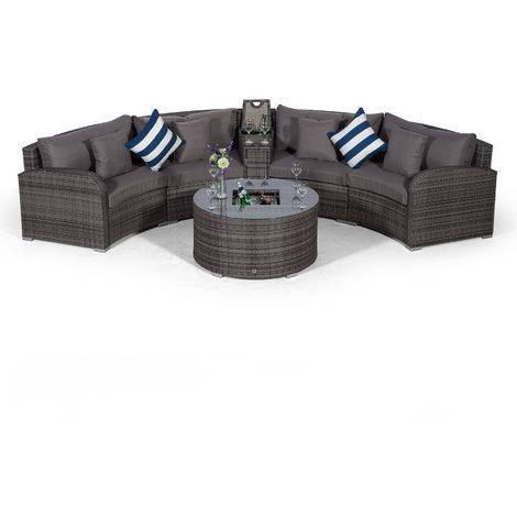 Giardino Riviera 4 Seat Grey Poly Rattan Garden Furniture Set + Coffee Table Cooler, 1 Armrest Consoles & Outdoor Furniture Covers   6pc Curved Rattan Sofa Set   Rattan Patio Conservatory Furniture