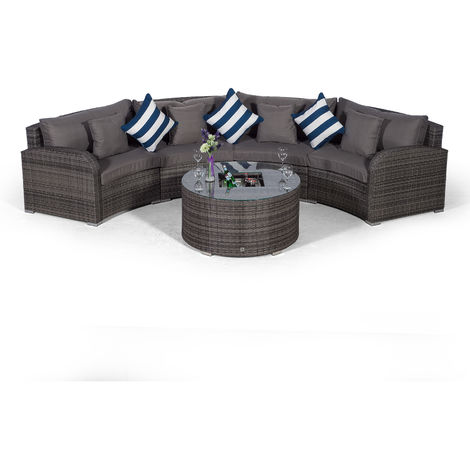 Giardino Riviera 4 Seat Grey Poly Rattan Garden Furniture Set with Drinks Ice Bucket Coffee Table & Outdoor Furniture Covers | 5 piece Curved Rattan Sofa Set | Rattan Patio Conservatory Furniture
