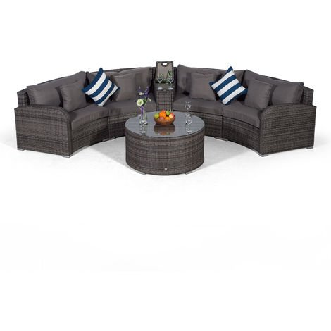 Giardino Riviera 4 Seat Grey Rattan effect Garden Furniture Set with Coffee Table & Armrest Ice Cooler + Outdoor Furniture Covers   6 pcs Curved Rattan Sofa Set   Rattan Patio Conservatory Furniture