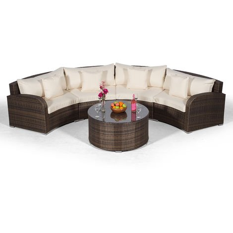 Giardino Riviera 4 Seater Brown Poly Rattan effect Garden Furniture Set with Coffee Table & Outdoor Furniture Covers | 5 piece Curved Rattan Sofa Set | Rattan Patio Conservatory Furniture