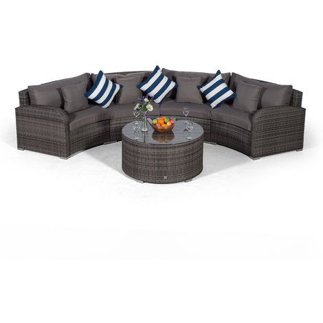 Giardino Riviera 4 Seater Grey Poly Rattan effect Garden Furniture Set with Coffee Table & Outdoor Furniture Covers | 5 piece Curved Rattan Sofa Set | Rattan Patio Conservatory Furniture