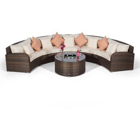 Giardino Riviera 5 Seat Brown Poly Rattan Garden Furniture Set with Drinks Ice Bucket Coffee Table & Outdoor Furniture Covers | 6 piece Curved Rattan Sofa Set | Rattan Patio Conservatory Furniture
