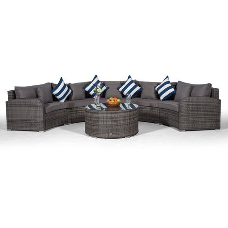 Giardino Riviera 5 Seater Grey Poly Rattan effect Garden Furniture Set with Coffee Table & Outdoor Furniture Covers | 6 piece Curved Rattan Sofa Set | Rattan Patio Conservatory Furniture