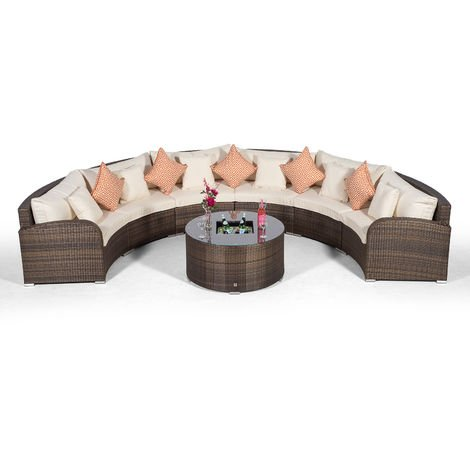 Giardino Riviera 6 Seat Brown Poly Rattan Garden Furniture Set with Drinks Ice Bucket Coffee Table & Outdoor Furniture Covers | 7 piece Curved Rattan Sofa Set | Rattan Patio Conservatory Furniture