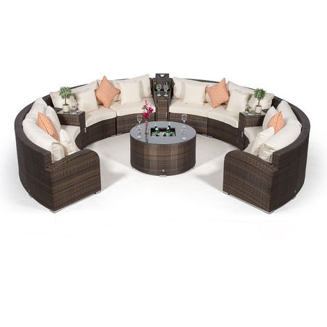 Giardino Riviera 8 Seat Brown Poly Rattan Garden Furniture Set + Coffee Table Cooler & 3 Armrest Coolers + Outdoor Furniture Cover | 12 pcs Round Rattan Sofa Set | Rattan Patio Conservatory Furniture