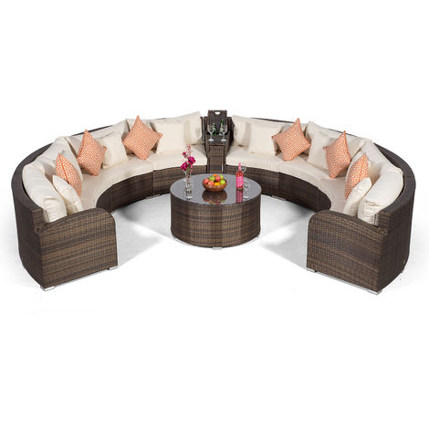 Giardino Riviera 8 Seat Brown Rattan effect Garden Furniture Set with Coffee Table & Armrest Ice Cooler + Outdoor Furniture Covers | 10 pcs Curved Rattan Sofa Set | Rattan Patio Conservatory Furniture