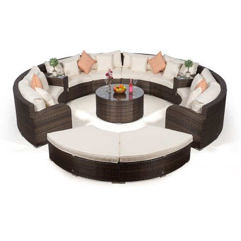Giardino Riviera 8 Seat Brown Rattan Garden Furniture Set + Coffee Table, 2 Armrest Coolers & 2 Stools + Outdoor Furniture Covers | 13 pcs Round Rattan Sofa Set | Rattan Patio Conservatory Furniture