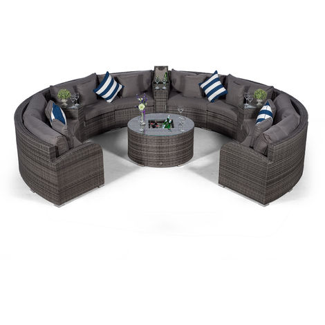 Giardino Riviera 8 Seat Grey Poly Rattan Garden Furniture Set + Coffee Table Cooler & 3 Armrest Coolers + Outdoor Furniture Cover | 12 pcs Round Rattan Sofa Set | Rattan Patio Conservatory Furniture