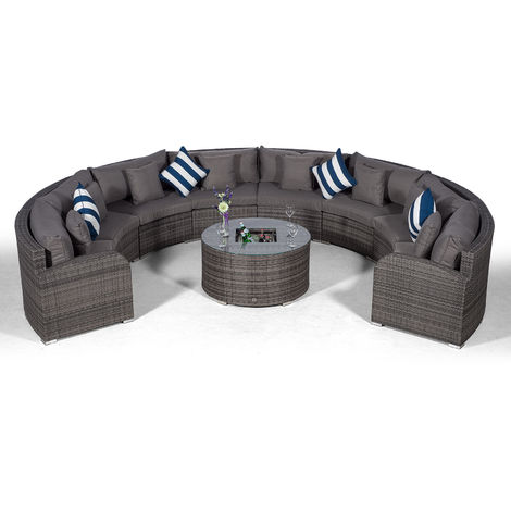 Giardino Riviera 8 Seat Grey Poly Rattan Garden Furniture Set with Drinks Ice Bucket Coffee Table & Outdoor Furniture Covers | 9 piece Curved Rattan Sofa Set | Rattan Patio Conservatory Furniture