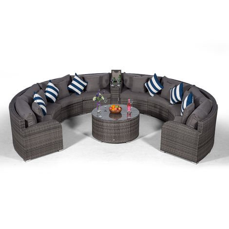 Giardino Riviera 8 Seat Grey Rattan effect Garden Furniture Set with Coffee Table & Armrest Ice Cooler + Outdoor Furniture Covers | 10 pcs Curved Rattan Sofa Set | Rattan Patio Conservatory Furniture