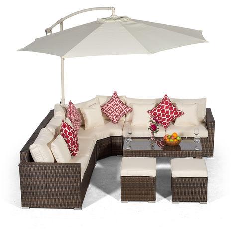 Giardino Santorini 5 Seat Brown Rattan Corner Sofa Set + 2 Stool Coffee Table + Parasol + Outdoor Furniture Cover | L Shaped Outdoor Corner Sofa | 9 pcs Patio Poly Rattan Garden Sofa Set + Sun Lounger