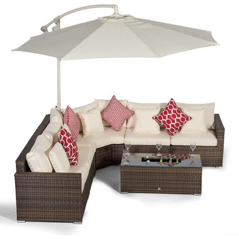 Giardino Santorini 5 Seat Brown Rattan Corner Sofa Set + Large Ice Cooler Table, Parasol + Outdoor Furniture Cover | L Shaped Outdoor Corner Sofa | 7 pc Patio Poly Rattan Garden Sofa Set + Sun Lounger