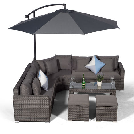 Giardino Santorini 5 Seat Grey Rattan Corner Sofa Set + 2 Stool Coffee Table + Parasol + Outdoor Furniture Cover | L Shaped Outdoor Corner Sofa | 9 pcs Patio Poly Rattan Garden Sofa Set + Sun Lounger