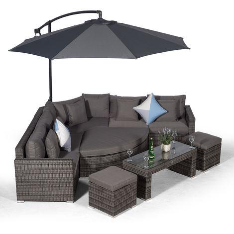 Giardino Santorini 5 Seat Grey Rattan Corner Sofa Set + 2 Stool Coffee Table + Parasol + Outdoor Furniture Cover | L Shaped Outdoor Corner Sofa | Poly Rattan Garden Sofa Set + Sun Lounger & Daybed