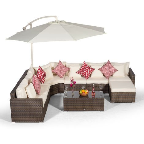 Giardino Santorini 6 Seat Brown Rattan Corner Sofa Set + Coffee Table + Ottoman + Parasol + Outdoor Furniture Cover | L Shaped Outdoor Corner Sofa | Patio Poly Rattan Garden Sofa Set + Sun Lounger