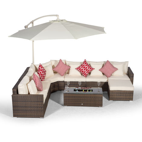 Giardino Santorini 6 Seat Brown Rattan Corner Sofa Set + Large Ice Cooler Table + Ottoman, Parasol + Outdoor Furniture Cover | L Shaped Outdoor Corner Sofa | 9 pc Patio Poly Rattan Garden Sofa Set