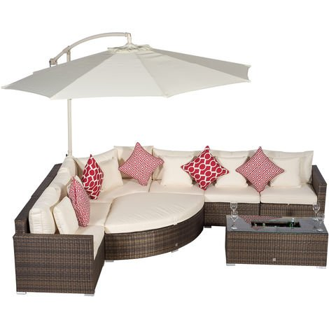 Giardino Santorini 6 Seat Brown Rattan Corner Sofa Set + Large Ice Cooler Table, Parasol + Outdoor Furniture Cover | L Shaped Outdoor Corner Sofa | Poly Rattan Garden Sofa Set + Sun Lounger & Daybed