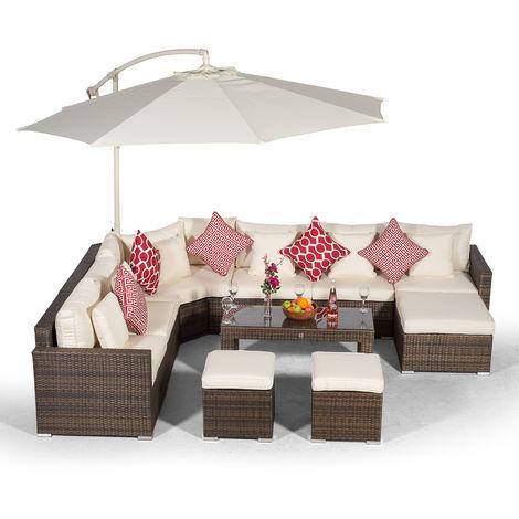 Giardino Santorini 6 Seat Brown Rattan Corner Sofa Set with 2 Stool Coffee Table + Ottoman + Parasol + Outdoor Furniture Cover | L Shaped Outdoor Corner Sofa | Patio Poly Rattan Garden Sofa Set