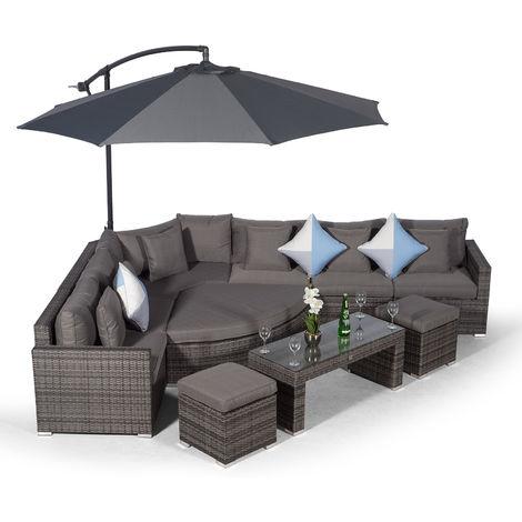 Giardino Santorini 6 Seat Grey Rattan Corner Sofa Set + 2 Stool Coffee Table + Parasol + Outdoor Furniture Cover | L Shaped Outdoor Corner Sofa | Poly Rattan Garden Sofa Set + Sun Lounger & Daybed