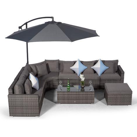 Giardino Santorini 6 Seat Grey Rattan Corner Sofa Set + Coffee Table + Ottoman + Parasol + Outdoor Furniture Cover | L Shaped Outdoor Corner Sofa | Patio Poly Rattan Garden Sofa Set + Sun Lounger