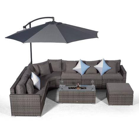Giardino Santorini 6 Seat Grey Rattan Corner Sofa Set + Large Ice Cooler Table + Ottoman, Parasol + Outdoor Furniture Cover | L Shaped Outdoor Corner Sofa | 9 pc Patio Poly Rattan Garden Sofa Set